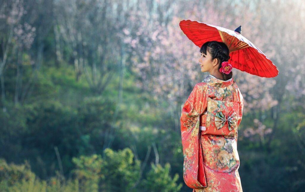 kimono, woman, umbrella